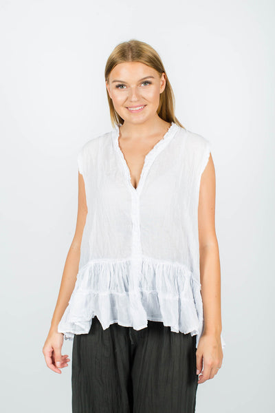 Spice Up! - Mia Top - White - White Cotton Top - Pizazz Boutique