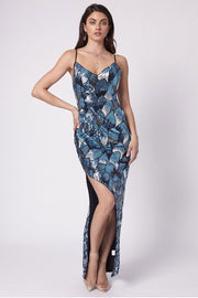 Romance - Notre Dame Maxi Dress - Navy Blue Sequin - Pizazz Boutique
