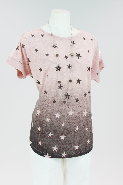 Gabby Isabella - Ombre Star Top - Pink & Black - Pizazz Boutique