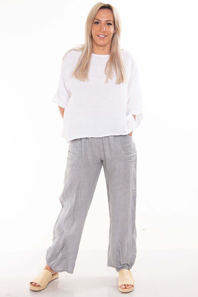 The Italian Cartel Pescara Pants - Light Grey Linen - Pizazz Boutique
