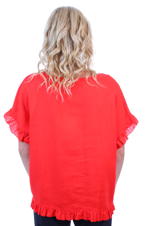 Drop Shoulder Frill Linen Top - Red
