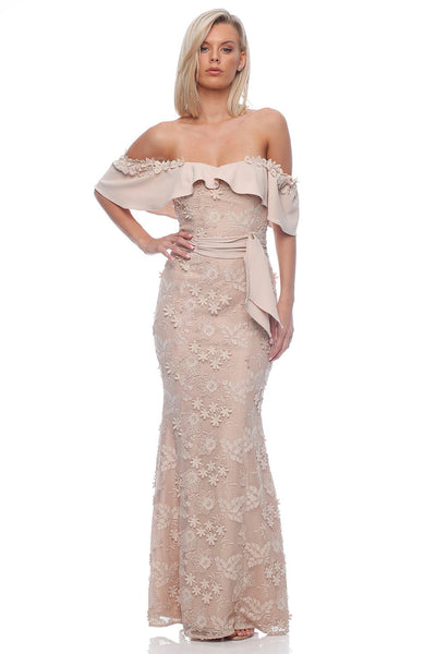 Romance - Scarlett Off Shoulder Maxi Dress - Nude - Pizazz Boutique