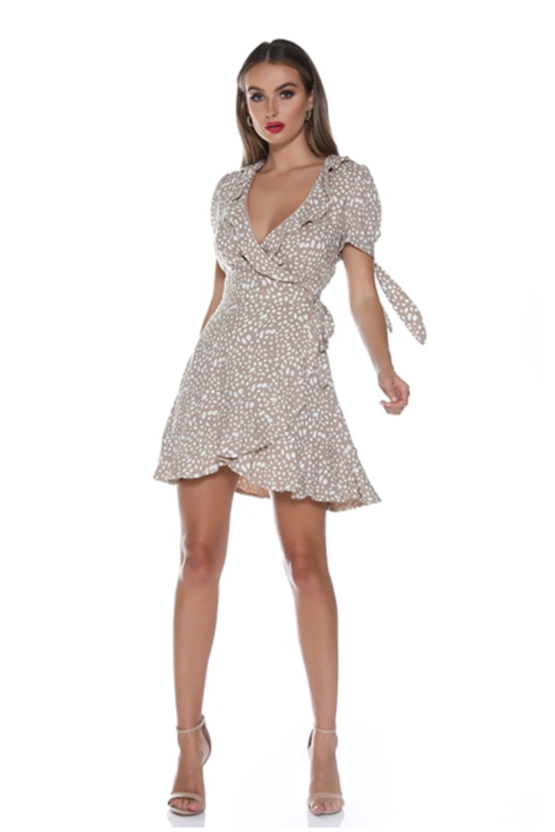 Spice Up - Mi Amor Wrap Dress - Beige & White Spot - Pizazz Boutique