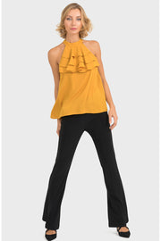Joseph Ribkoff - The Honey Halter Top - Mustard - Pizazz Boutique