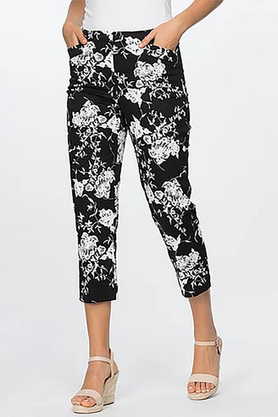 Clarity - Floral Print Pull On Pants - 35254 - Pizazz Boutique