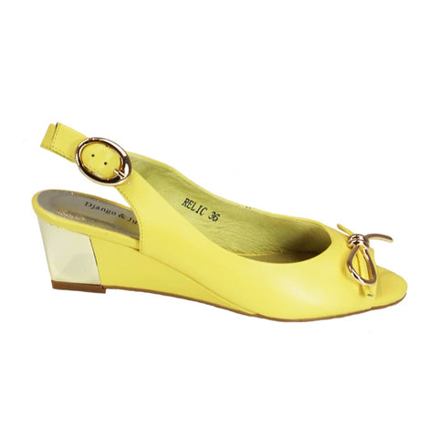 Relic - yellow leather wedge