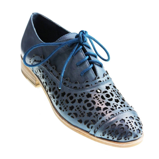 Casa Navy Lace-Up Leather Shoes