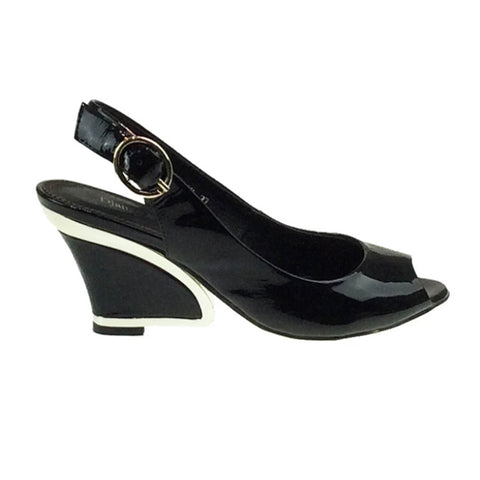 Exclamation Patent Leather Wedge - Black