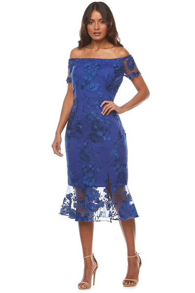 Zaliea Off Shoulder Lace Cocktail Dress Z0143 Royal - Pizazz Boutique