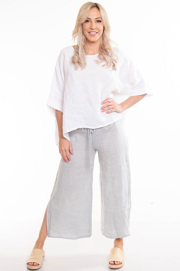 The Italian Cartel - Savona Pant - Grey Linen Pants - Pizazz Boutique