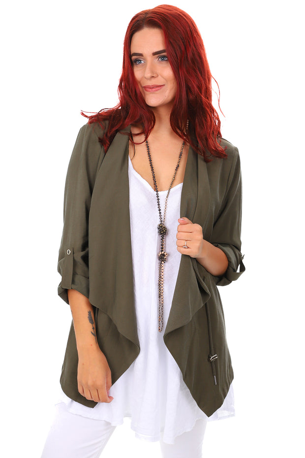 Relaxed Open Blazer - Khaki