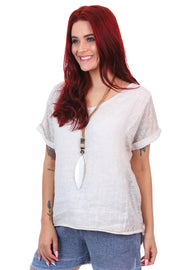 Linen Art Top - Sabbia