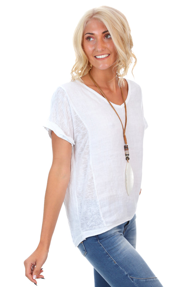 Linen Art Top - White