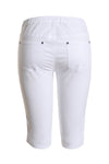 Cafe Latte - Stretch Pull On Jean Short - White - Pizazz Boutique
