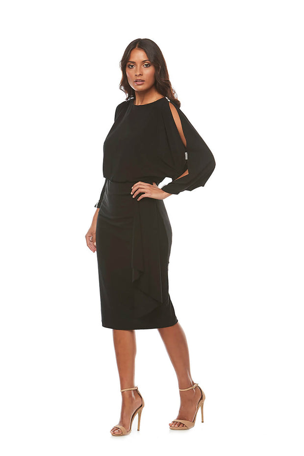 Zaliea - Lillian Long Sleeve Dress - Black Z0150 - Pizazz Boutique