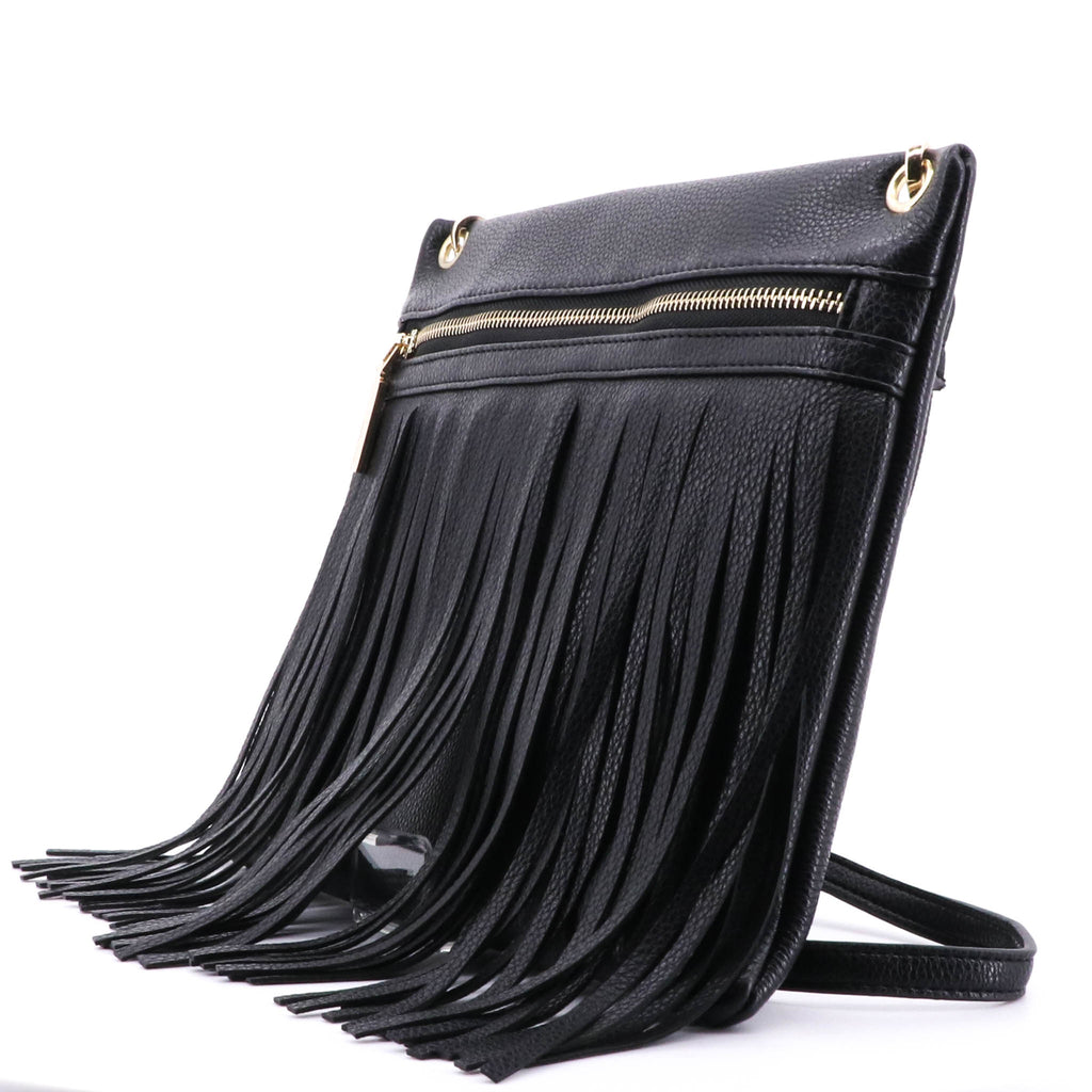 Adorne - Black Fringe Shoulder Bag - Pizazz Boutique