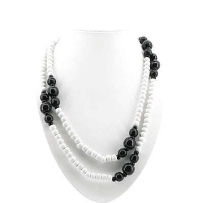 Adorne - Black And White Party Beaded Necklace - Pizazz Boutique