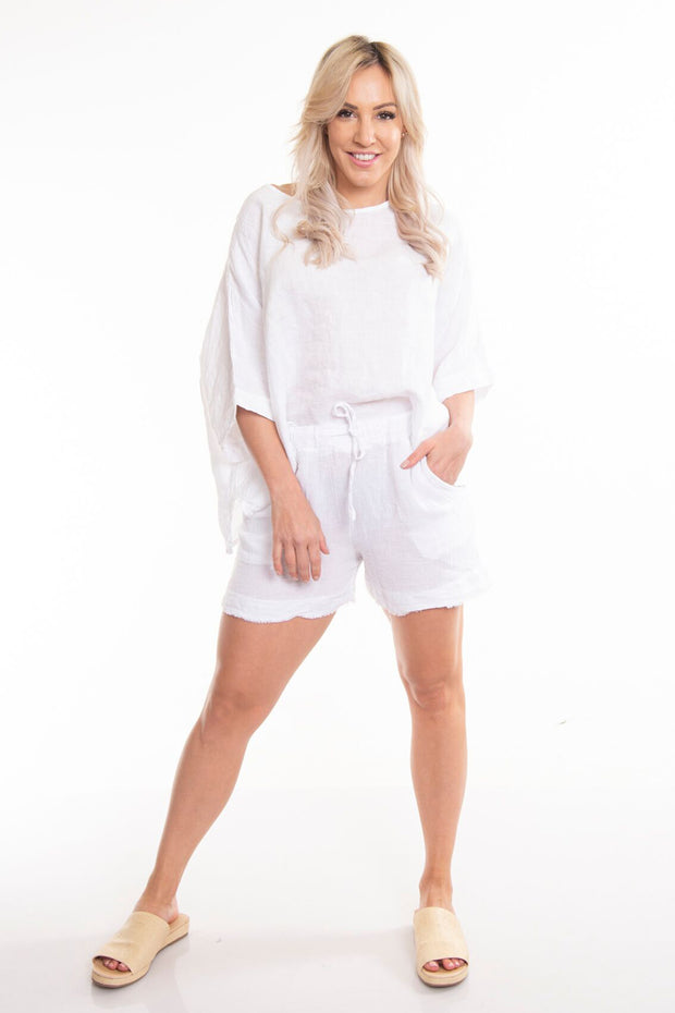 Asti Linen Shorts - White