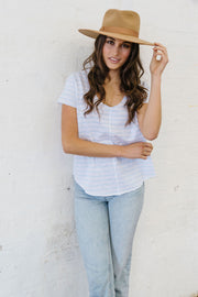 Cloth+Paper+Scissors - White and Pale Blue Stripe Tee Pizazz Boutique