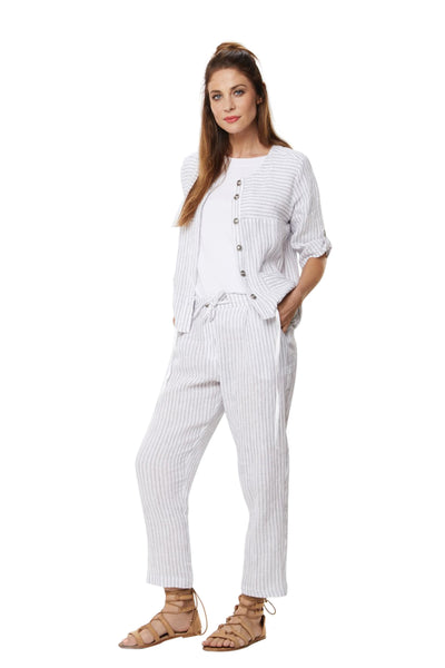 Bollie Roll Up Linen Pants - Silver