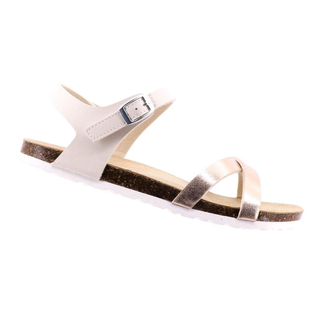 Byron Bay Shoe Co - Mila Sandal - Beige & Rose Gold - Pizazz Boutique