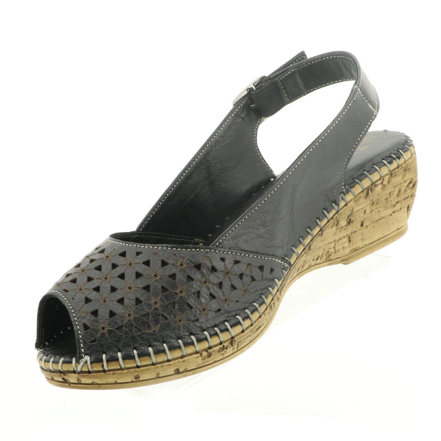 Cabello Shoes - Shelly Wedge - Black Leather - Pizazz Boutique