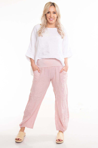 The Italian Cartel - Pescara Pants - Pink Linen - Pizazz Boutique