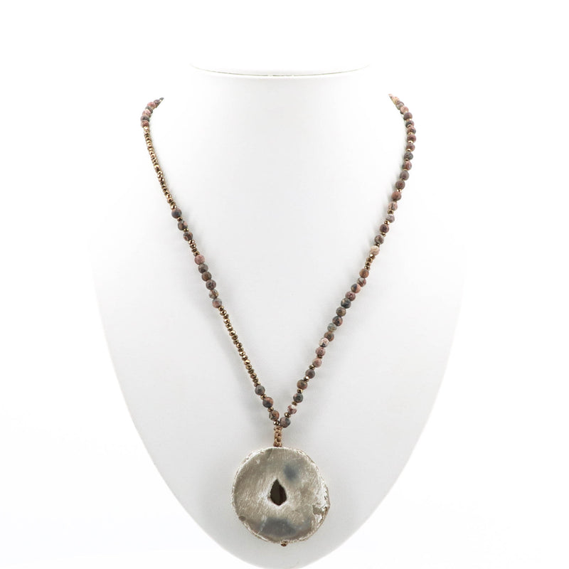 Cindy G -  Bronze Crystal Natural Stone Necklace - Pizazz Boutique