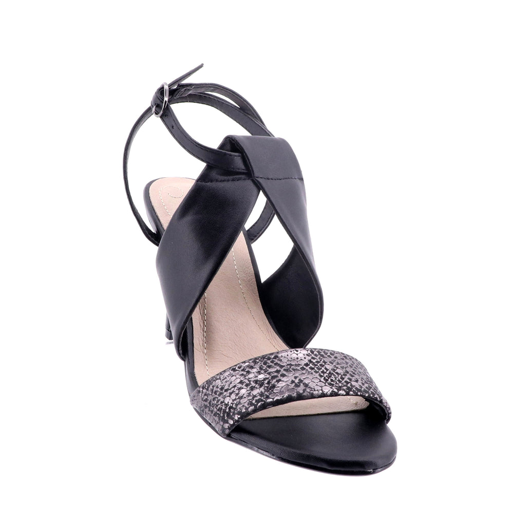 Clarice - Trina Heel - Black and Snake Skin Heel - Pizazz Boutique