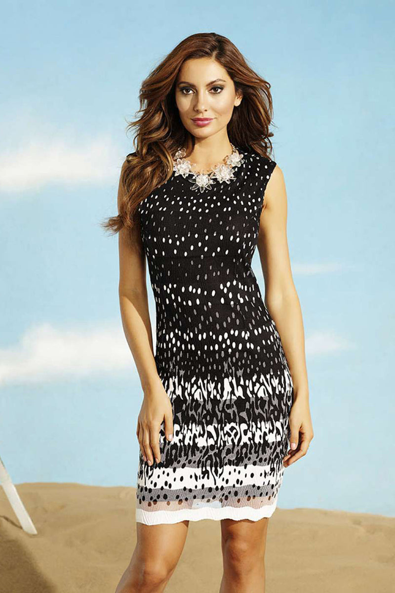 Frank Lyman 56523 B & W Spotted Dress
