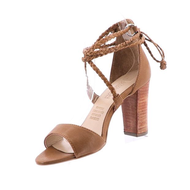 Lawton Leather Tie Up Heel - Tan