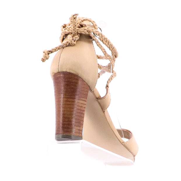 Lawton Leather Tie Up Heels - Natural