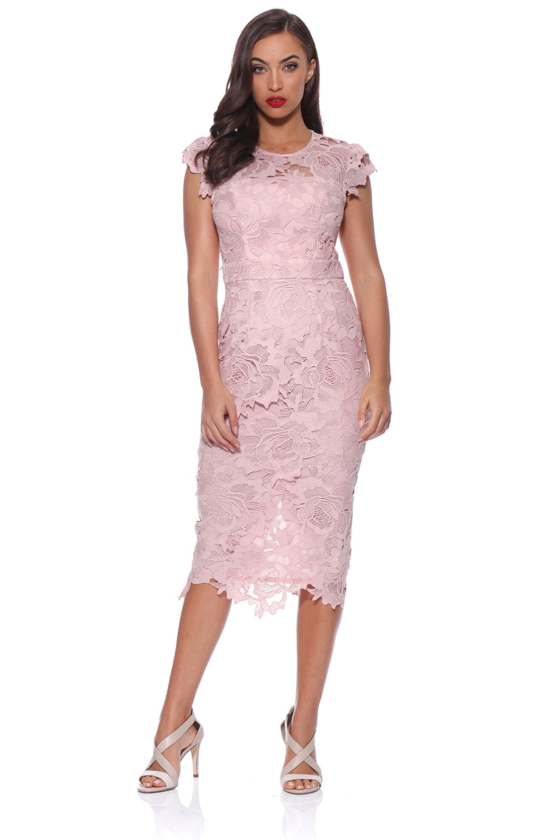 Romance Julie dusky pink lace dress