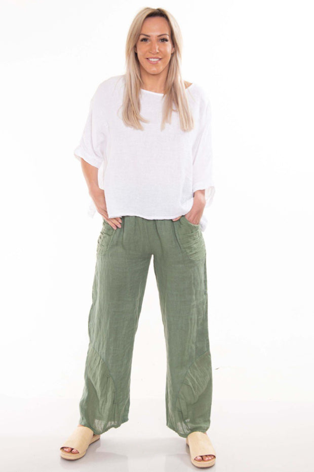 The Italian Cartel - Pescara Pants - Khaki Linen - Pizazz Boutique