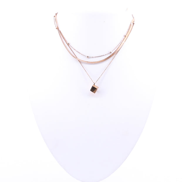 Rose Gold Cube Necklace