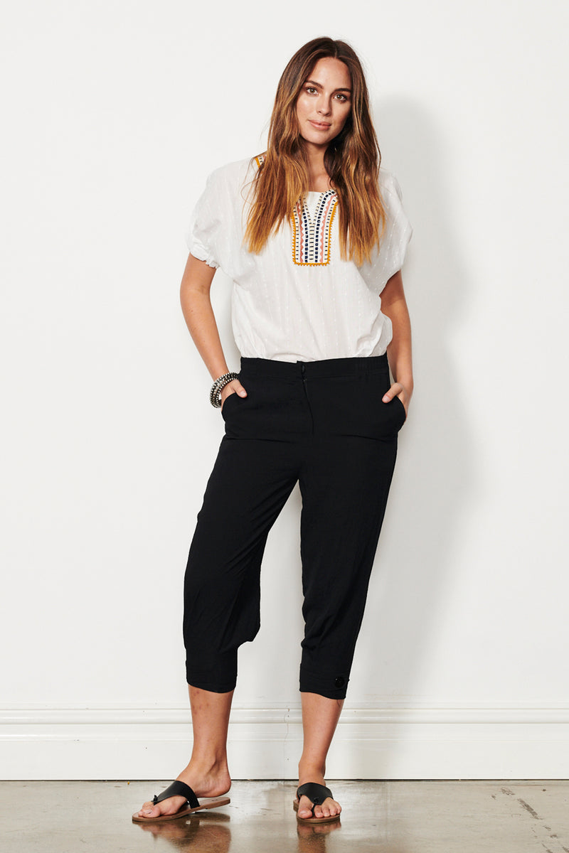 Pepper Button Hem Pants (Black)