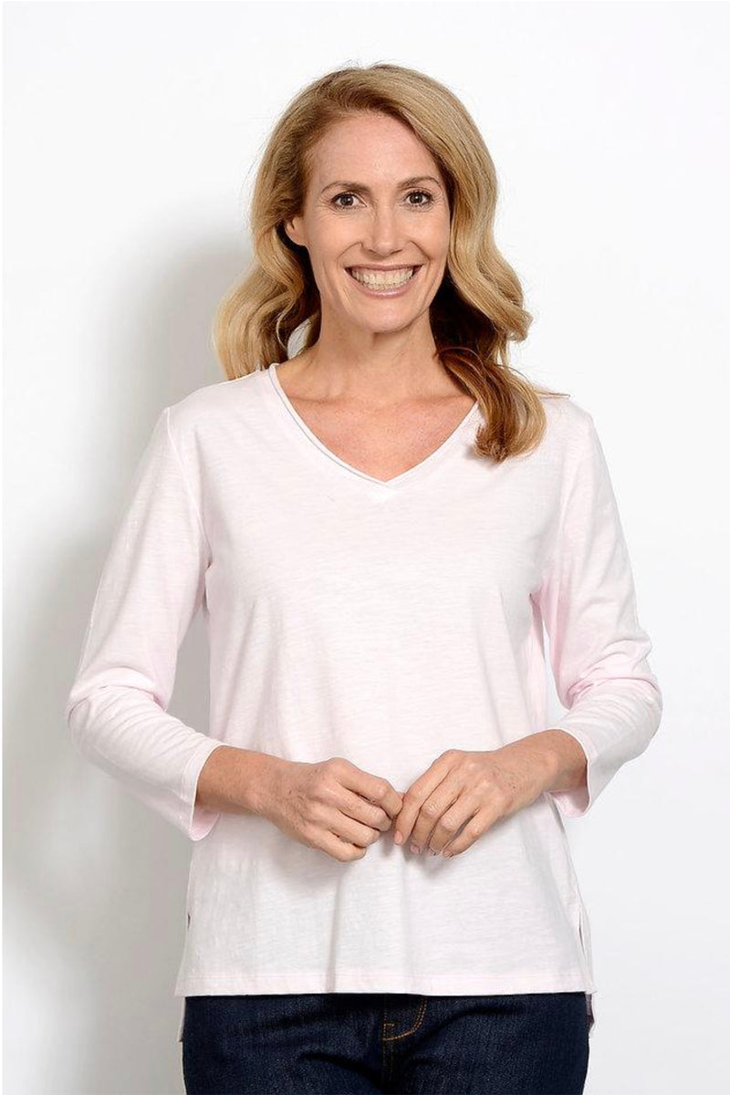 Goondiwindi - V Neck Long Sleeve Shirt -  Pink - Pizazz Boutique