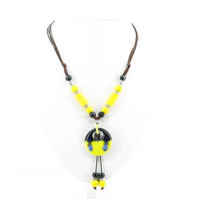 Stellar Rose Yellow Beaded Necklace - Art Deco Style - Pizazz Boutique