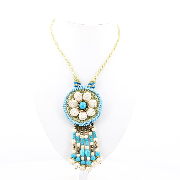 Stellar Rose - Blue Stone Necklace - Beaded Necklace - Pizazz Boutique