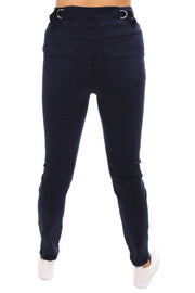 Tie Front Gathered Jeans - Navy