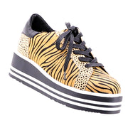 Story To Wedge Sneaker - Tan Zebra