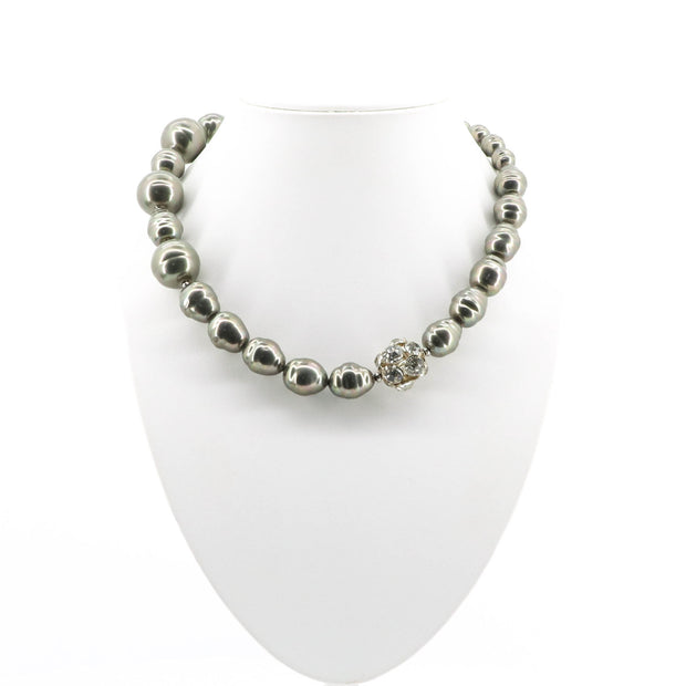 Brooke Beaded Dimond Clasp Necklace