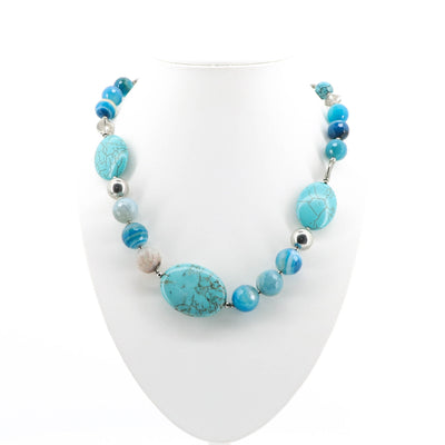 Touche - Alexa Blue Stone Necklace - Blue - Pizazz Boutique