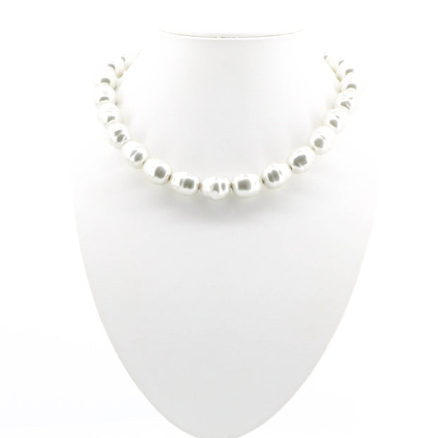Soft Ivory Pearl Necklace with Silver Clasp -A16