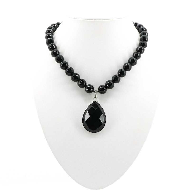 Black Crystals and Black Teardrop Pendant B2