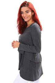 Knit Layered Top - Charcoal