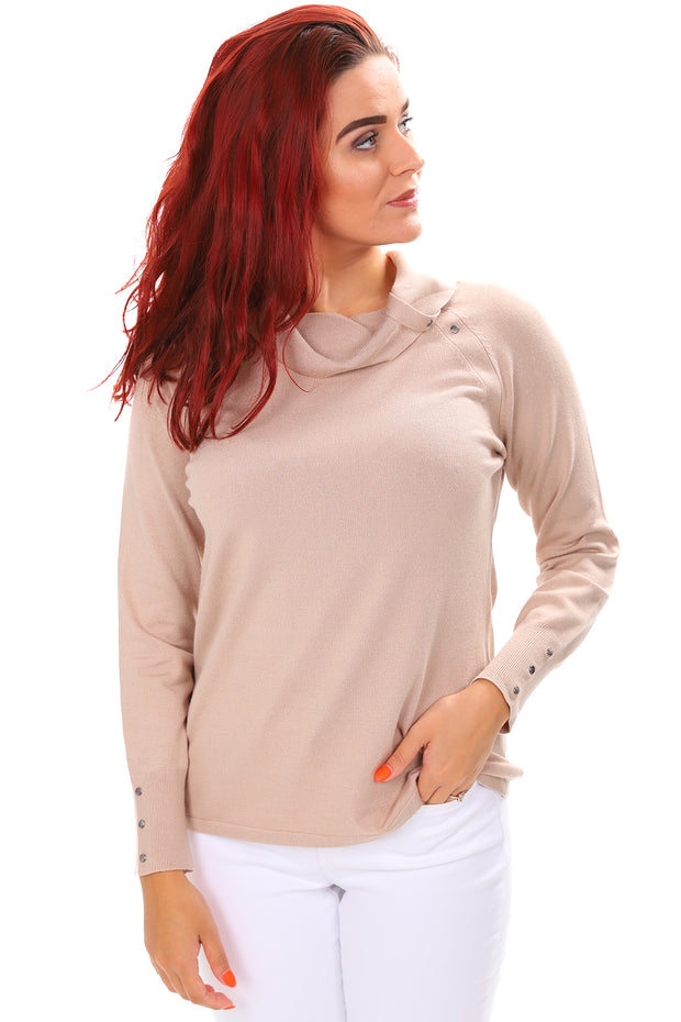 Studded Roll Neck Top - Hazelnut