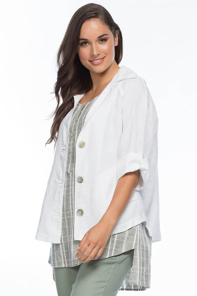 Gordon Smith - Button Detail Linen Jacket - White - Pizazz Boutique