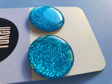 Load image into Gallery viewer, Blue Glitter Studs