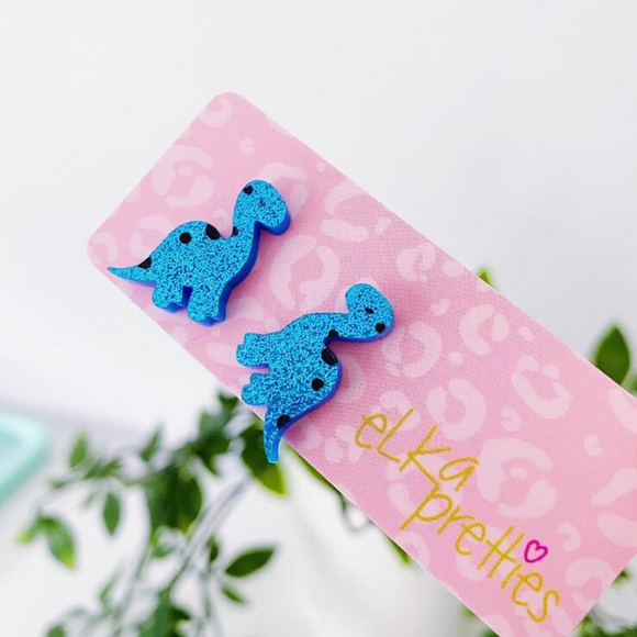 Betty Brontosaurus Mini Studs - Blue Sparkle